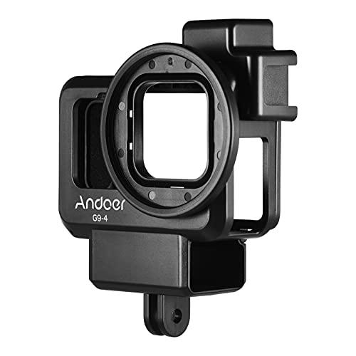 Andoer Kamera sportowa, klatka, tworzywo sztuczne Vlog obudowa ochronna z podwójnym uchwytem na zimne buty 55 mm adapter filtrujący rozszerzenie akcesoria zamiennik do GoPro Hero 9