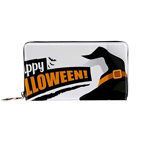 TIZORAX Happy Halloween Hut Katze PU Leder Lange Geldbörse Reißverschluss Clutch Damen Geldbörse Geldbörse für Frauen Mädchen