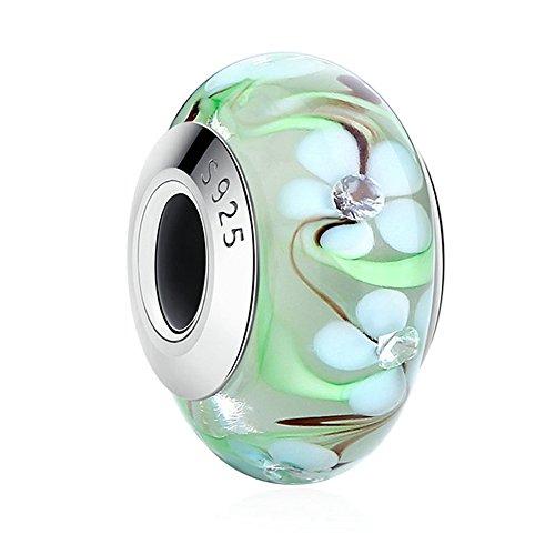 Lily Jewelry verde fiore in vetro di Murano, in argento Sterling 925, adatto per Pandora braccialetti europei