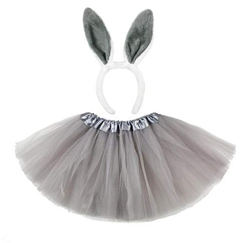 Odoukey Baby-Ostern-Kaninchen-Kostüm Baby-Fotografie Props Outfits Baby-Häschen-Kostüm Tutu Kleid Stirnband Grau 2ST