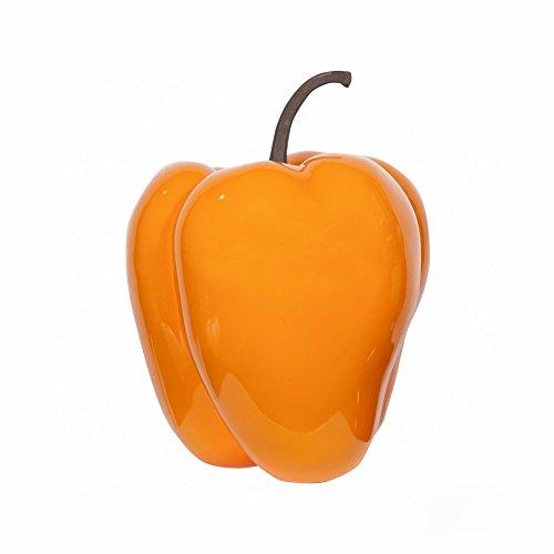 Pottery Pots Paprika Orange, handgefertigte Deko-Paprika, Robustes Fiberglas, Größe S, Dekoartikel für Drinnen & Draußen, Wohnideen, Deko-Artikel für Gastronomie und Hotellerie
