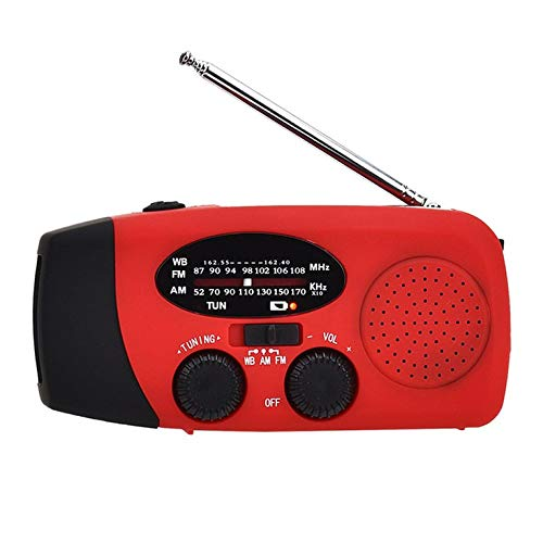 Fontsime 多機能ハンドクランクソーラーパワードダイナモAMFMNOAAラジオ時間緊急使用LED懐中電灯パワーバンクラジオレッドAM/FM/NOAA