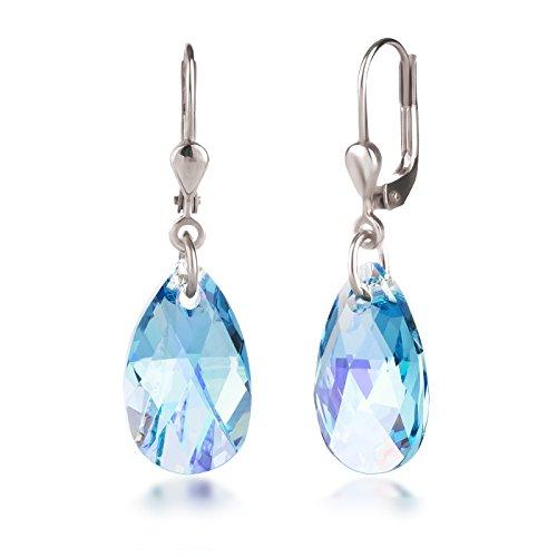 Schöner-SD Ohrringe mit Swarovski® Kristall 925 Silber Tropfen hängend 16mm Aquamarin AB hell-blau