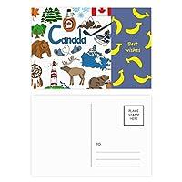 カナダ風景動物の国旗 バナナのポストカードセットサンクスカード郵送側20個