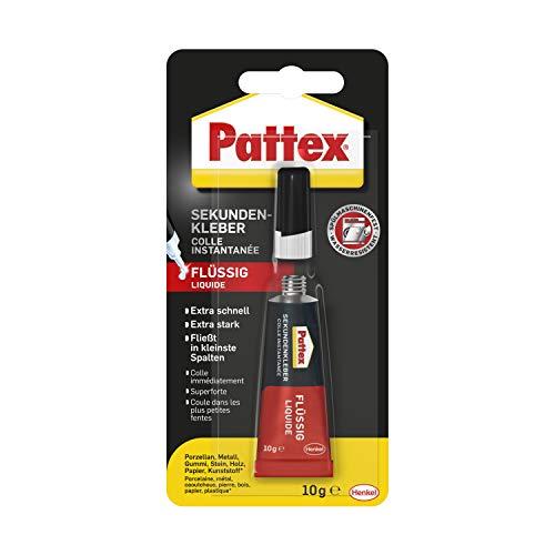 Pattex Sekundenkleber Flüssig, spülmaschinenfester Superkleber für viele Sofortreparaturen, schnelltrocknender farbloser Flüssigkleber, 1 x 10g