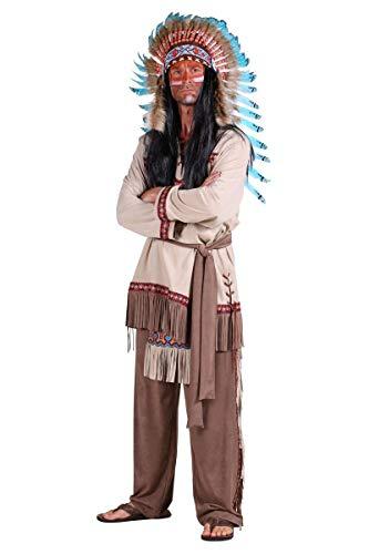 Thetru Herren Kostüm Indianer Häuptling Karneval Fasching Gr.2XL