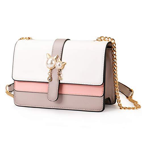 Pomelo Best Damen Kleine Umhängetasche Kunstleder Schultertasche Crossbody Bag mit Kette Schulterriemen (Grau)