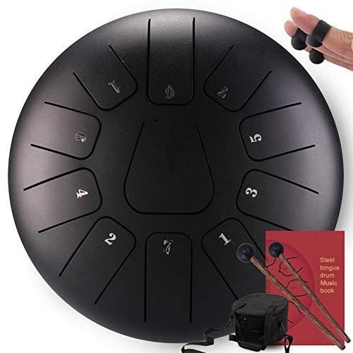 Chen0-super Steel Tongue Drum, Instrumento de percusión de 10 Pulgadas Tambor panorámico 11 Notas Tambor de Tanque con Bolsa de Tambor Acolchada y un par de mazas