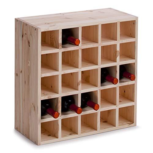 Zeller 13172 Weinregal für 25 Flaschen, Kiefer, ca. 52 x 25 x 52 cm