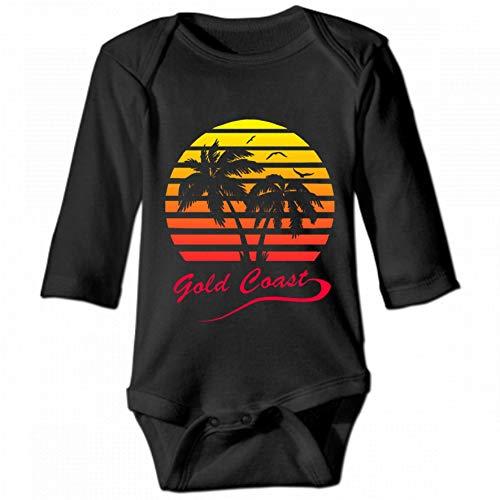 KioHp Gold Coast 80s Sunset - Gold Coast Body lange mouwen met ronde hals voor baby's, uniseks, klimpak, casual, zwart