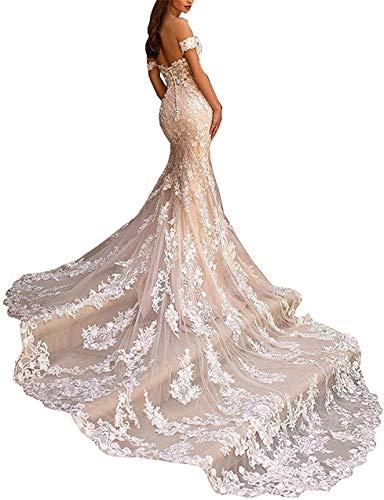 Creatividad Hecha a Mano Escote Corazón Vestido de Novia con Hombros Descubiertos para Novia con Tren Apliques sin Espalda Vestido de Novia de Playa de Encaje Blanco, LIFU