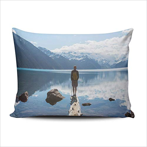 WH-CLA Pillow Cover Travel Walking Lake Near Whistler 40X60Cm Funda De Cojín Funda De Almohada Funda De Almohada Rectangular Cremallera Oculta Impreso En Dos Lados Personalizable para Co