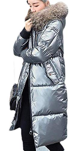 Women's wintermetallic zilver voor Hooded Mid Length Quilted Jacket Coat Outerwear
