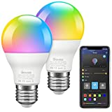 Govee LED Bulbs Dimmable, Music Sync RGB Color Changing Light Bulbs A19 7W 60W Equivalent, Multicolor Decorative No Hub Required LED Bulbs with APP for Party Home 2 Pack(Don't Support WiFi/Alexa)