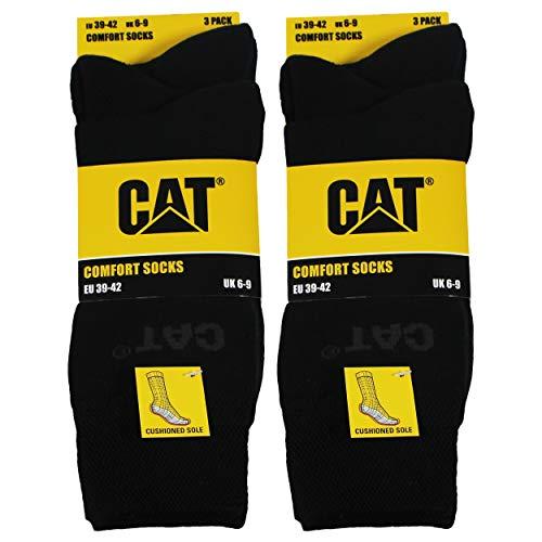 Caterpillar Comfort Socks 6 Paar super Komfortable Dress-Socke mit Frotteesohle, ausgezeichnete Qualität aus Baumwolle (Schwarz, 39-42)