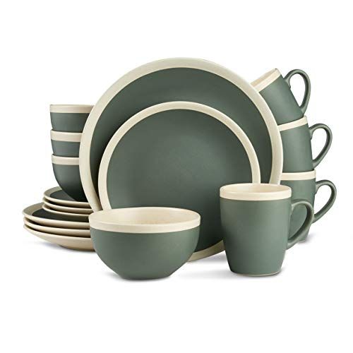Stone Lain Dinnerware Set, 16 Piece, Green and Cream