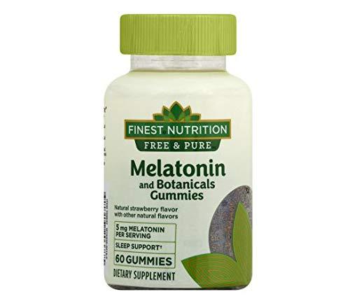 Finest Nutrition Free & Pure Melatonin + Botanicals Gummies Strawberry60ea, 1 pk