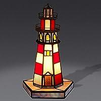 テーブルランプティファニー樹脂ステンドグラス灯台コテージ
