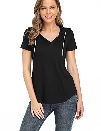Dilgul Women's Short Sleeve V Neck Hoodie Sweatshirts Casual Loose Tshirts Pullover Tops Black M