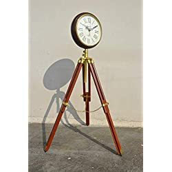 Nautical India Wooden Wall Clock with Tripod Stand - Home Decor Vintage Reproduction Grandfather Style Floor Standing Clock
