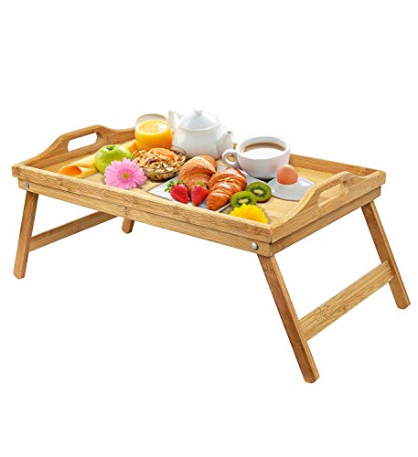 urbenfit Bed Tray Table Bamboo Portable Lightweight Breakfast Serving Trays with Folding Legs, Multipurpose Laptop Bed Tray for Eating, Reading, Working
