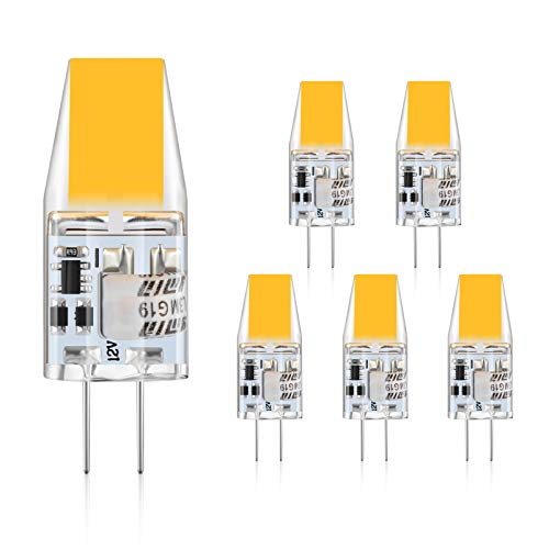 Defurhome G4 LED Lampen,3W LED Birnen ersetzt 30W Halogenlampen,300LM, Warmweiß 2900K,12V AC/DC,Kein Flackern Nicht Dimmbar, G4 LED Glühlampe,5er-Pack