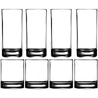 Vaso plástico tazas vasos - Set de vasos Highball acrílico de 8 (4x16oz & 4x14oz) clara cocina reutilizable vaso lavavajillas seguro Bpa libre duro rocas cristal Copa agua vino jugo Copa conjuntos