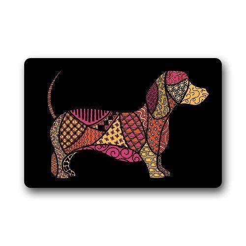 ZMvise - Felpudo decorativo de franela para puerta, diseño de perro salchicha, para interiores y exteriores, 15.7 x 60 cm