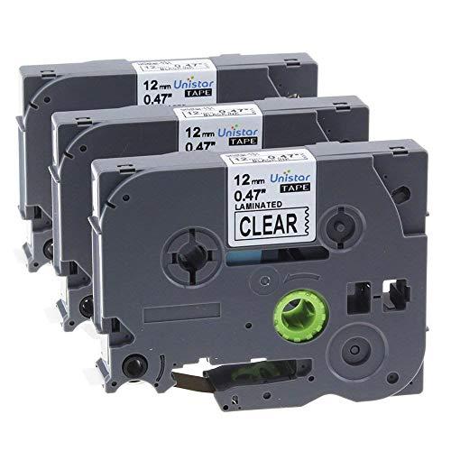 Nastro Unistar Compatibile In sostituzione di Brother TZe-131 TZe131 TZ-131 Nero su Transparent 12mm x 8m, 3x Nastri per Etichette con Brother P-Touch GL-H100 PT H100LB H101C P700 E100 D600VP P950NW