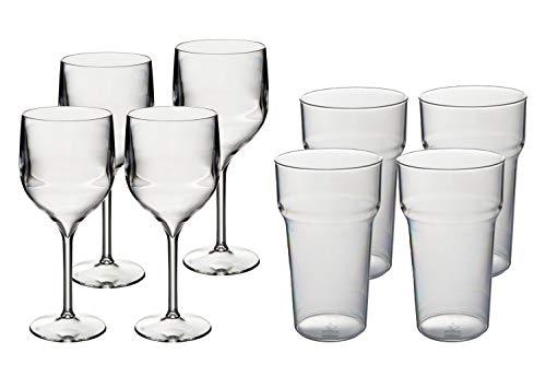 Roltex - Juego de copas de vino (8 unidades, 350 ml, 4 vasos de pinta de tulipán, prácticamente irrompibles, policarbonato)