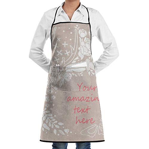 Lawenp Schürze Schädel Blumen Ornament Vektor Illustration Dead Chefs Küche Schürze Arbeit BBQ Gartenhaus mit Taschen