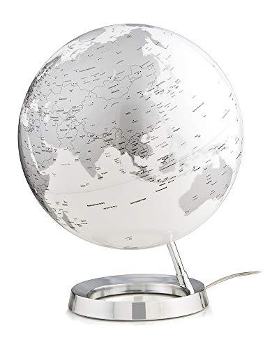 Tecnodidattica – Mappamondo Light&Colour Metal Chrome | Luminoso, girevole, con cartografia Politica aggiornata | Lampada di design | Diametro 30 cm