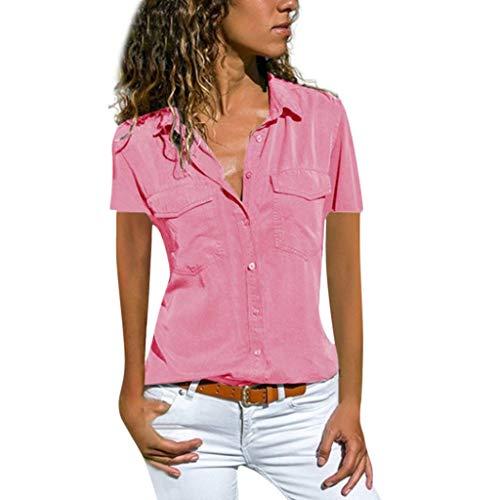 Ausverkauf LEEDY Damen Basic Blusen Taillierte Kurzarm Damenbluse Elegante Stretch Hemden V-Ausschnitt Shirt Hemd Casual Bluse Einfarbig Oberteil Hemdbluse Shirtbluse