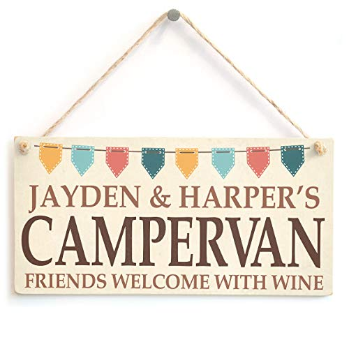 Personalised Campervan Sign - Any Name, Names, Surname, etc - Cute Campervan Bunting Gift Sign/Plaque