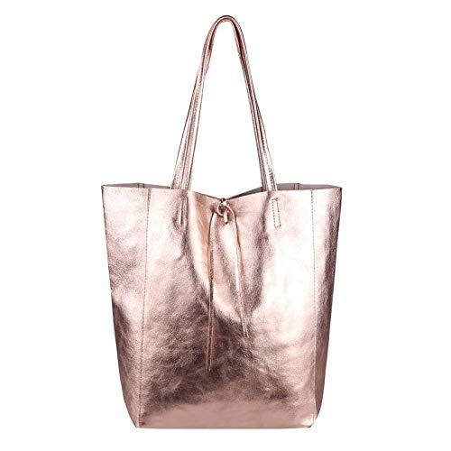 OBC Made in Italy Damen Leder Tasche DIN-A4 Shopper Schultertasche Henkeltasche Tote Bag Metallic Handtasche Umhängetasche Beuteltasche (Rosa-Metallic)