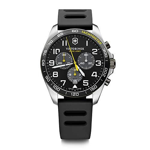 Victorinox FieldForce Sport Reloj de cuarzo suizo de acero inoxidable con correa de goma, negro, 21 (modelo: 241892)