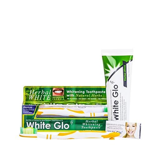 HERBAL WHITE - White Glo KIT pulizia dei denti con dentifricio sbiancante naturale, spazzolino e scovolini