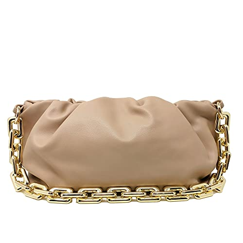 Women's Chain Pouch Bag | Cloud-Shaped Dumpling Clutch Purse | Ruched Chain Shoulder Handbag (Beige)