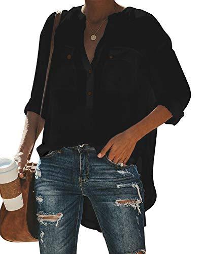 ZANZEA Bluse Damen Elegante V-Ausschnitt Langarmshirt Casual Oversize Longshirt Oberteile Loose Tunika Tops B-Schwarz EU 44
