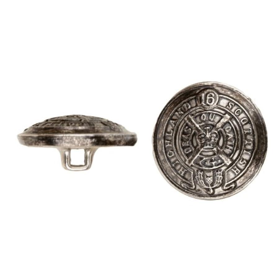 C&C Metal Products 5033 Heraldic Metal Button, Size 40 Ligne, Antique Nickel, 36-Pack