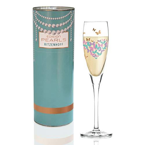 RITZENHOFF Pearls Edition Proseccoglas von Andrea Arnolt, aus Kristallglas, 160 ml, mit edlen Roségoldanteilen