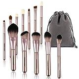 Make-up-Pinsel-Set – Professionelles Kabuki-Make-up-Pinsel-Set mit Tasche für Gesicht/Augen/Schminktasche im Lieferumfang enthalten (schwarz-gold)