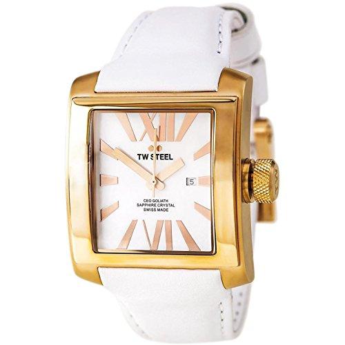 TW Steel Goliath Swiss Made - Reloj de Cuarzo para Mujer, con Correa de Cuero, Color Blanco
