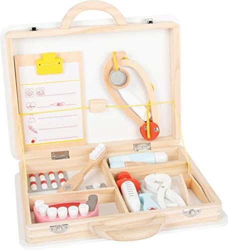 small foot 11743 Zahnarztkoffer 2 in 1 aus Holz, Arztkoffer mit Spritze, Stethoskop, Gebiss, Rollenspielzeug für Kinder
