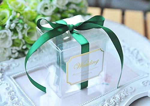 MNHJG Süßigkeitensack 5x5x5cm PVC Klar Süßigkeitskästen Hochzeit Dekorationen Partei Liefert Geschenkbox Baby Gezeigte Bevorzugungen Pralinenschachtel mit Band, grün, 50 STÜCKE