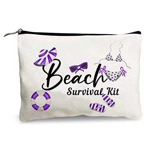 Fashion Makeup Bag for Women, - Beach Survival Kit - Funny Vacation Shopping Travel Cosmetic Bag Storage Pouch, Anniversary Birthday Travel Gifts for Sisters Mom Colleagues and Teachers 10' X 7.5'