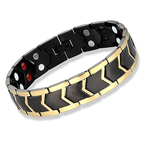 GTRHD Cadena de Reloj Pulsera de imán Inoxidable Hombres Joyería Terapia de energía Día de los Padres Regalo Universal y fácil de Ajustar