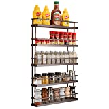 5 Tier Large Spice Rack Organizer Wall Mount - Hanging Seasoning Shelf Holder for Kitchen Cabinet Cupboard Pantry Door or Over the Stove