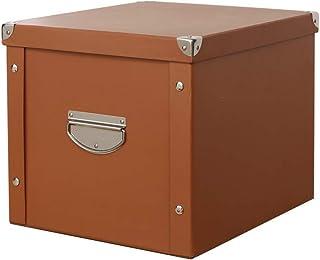 Jiutan収納ボックスふた付き 大容量 衣装ケース 折り畳み 取っ手 防水 ブラウン30*30cm