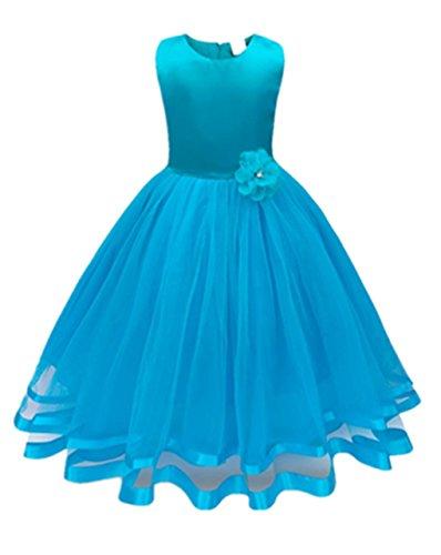 Mädchen Kleid,Honestyi Mädchen Kleider High-End-Kleid einfarbig Blumen Lange Prinzessin Kleid Blumenmädchen Prinzessin Kleid Festzug Tüll Kleid Party Brautkleid (Hellblau, 4T/120CM)